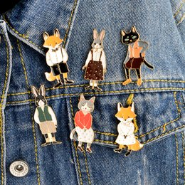 Gifts for cat lovers online shopping - Mr Ms Gentleman Lady Cat rabbit fox Brooch pin Denim Animal Jacket Pin Buckle Shirt Badge Lovers jewelry Gift for couples
