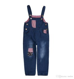 kids denim overalls Australia - Spring Autumn Toddler Baby Jeans Pants Hole Girls Denim Trousers Casual Children Suspenders Jeans Kids Overalls