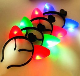 Discount light up headband christmas - Christmas LED Cat Ears Headband Light Up Plastic Head Hoop Glowing In The Dark For Party Decoration Hot Sale Derict Fact
