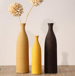 Folding Art Table Australia - European-style ceramic dried flower vase decoration Dining table living room flower arrangement Fashion creative simple home decoration