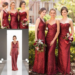 full length sparkly dress UK - Sparkly Burgundy Sequins Sorella Vita Long Bridesmaid Dresses 2019 More style Full length Country Garden Wedding Party Guest Junior Dress