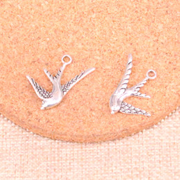 Bird Bracelets online shopping - 105pcs Antique Sliver flying swallow bird Charm Pendant DIY Necklace Bracelet Bangle Findings mm