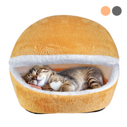 gray sofa beds Canada - Warm Winter Cat House Cotton Kitten Cave Bed Warm Pet Puppy Sofa Mats Cushion Coussin Chat Cama Gato Pet Nest Kennel Cat Product