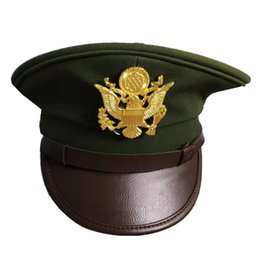 real cosplay UK - WWII U.S. Army Cap Green Wide-brimmed Officer Hats Fashion Military Caps Classical Style for Collection and Cosplay