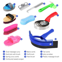 Wholesale 10pcs Horse Cleaning Set Horse Care Products Grooming Tool Tail Comb Massage Curry Brush Sweat Scraper Hoof Pick Curry Scrubber