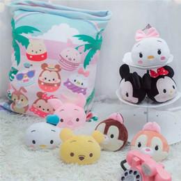 Plush Throw Pillows Australia - A bag of 8pc Mick tsum Tsum mouse & duck plush toy Creative cartoon Pillow Stuffed japan anime figure doll cushion throw Pillow