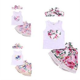 $enCountryForm.capitalKeyWord Australia - Sweet Kids Baby girl clothes Floral Summer Set Beach Holiday Tank Top+Bowknot Lace floral shorts+Headband 3pcs outfits 6M-4Y Wholesale 2019