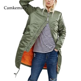 military green women s coat UK - CamKemsey Winter Coat Women Spring Autumn Long Sleeve Casual Military Army Green Thin Bomber Jacket Female Outwear MX191031