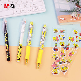 gel pen ink for kids Australia - M&G black ink 0.5mm erasable ballpoint gel pen set with sticker for school kid writing office supply cute pattern gift