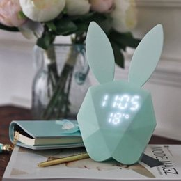 Ball clocks online shopping - Creative snooze night light microphone rabbit alarm clock music sound control clock child cute rabbit LED charging bedside light vibrating