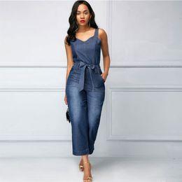 feb9e0ac70e H Denim Women s Overalls 2018 Jeans Woman Jumpsuit High Waist Jean Women  Trouser Wide Leg Ankle Length Female Clothes Fall  566220