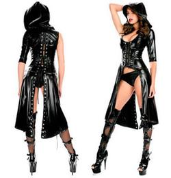 $enCountryForm.capitalKeyWord Australia - Sexy Ladies Faux Leather Cloak With Hood Erotic Fetish Open Crotch Catsuit Lingerie Women The Matrix Jacket Fancy Dress