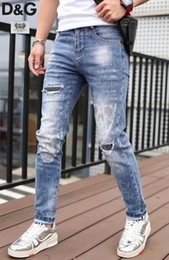 motorcycle men tights UK - The new criminal trend is harmful to hip-hop tight jeans of male fashion designers and jeans of motorcycle drivers. Size 28-40~pp2