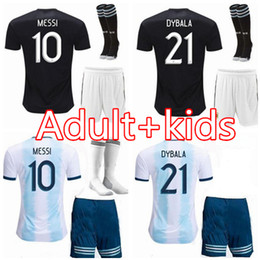 Wholesale kids kit Argentina Home soccer jersey man kits MESSI DYBALA HIGUAIN ICARDI Camisetas de futbol kits football shirt uniform
