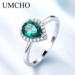 $enCountryForm.capitalKeyWord Australia - Umcho Romantic Water Drop Created Emerald Rings 925 Sterling Silver Rings For Women Birthday Gift Fine Jewelry T190702