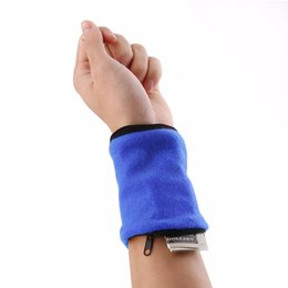 Wholesale Wrist Zipper Wallet Australia - free shipping Wallet Wrist Band Fleece Zipper Travel Gym Cycling Sport Wallet Sweat Absorbtion Travel Sport Wrist Wallet Hiking Accessories