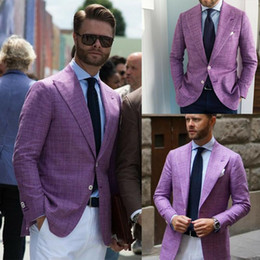 wedding tuxedos purple Australia - Purple Linen Men Suits Tailored Fit Groomsmen Wedding Slim Fit Suits For Men Tuxedo Groom For Groomsman 1 PC Jacket