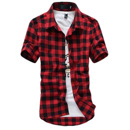Red Plaid Mens Dress Shirt Australia - Red And Black Plaid Shirt Men Shirt Summer Style New Chemise Hommer Casual Mens Dress Shirts Fashion Camisa Social Shirt Men