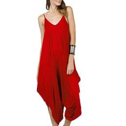 $enCountryForm.capitalKeyWord Australia - Harem Drop Crotch Romper Jumpsuits Wide Leg Strappy Overalls Women Playsuit Spaghetti Strap Sexy Deep V-neck Plus Size 5x MX190806
