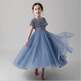 $enCountryForm.capitalKeyWord UK - 2019 New High-end Girls Wedding Party Flower Girl Dress Half Sleeve Bead Blue Tulle Princess Gown Girl Long Evening First Communion Gown