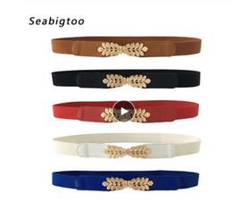$enCountryForm.capitalKeyWord Australia - High elasticity fabric belts for women dresses gold Leaves metal buckle belts female women fashion 2019 hot elastic belts