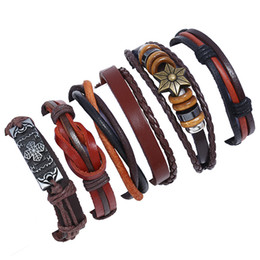 $enCountryForm.capitalKeyWord Australia - 6pcs lot Punk Braided Bracelets Multilayer Genuine Leather Vintage Charms DIY Fashion Trend Wrap Jewelry Wristband Bangle for Men Women Gift