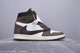 Air Retroes 1S Cactus Jack Brown High OG Basketball Sneakers Travis 1 I AJ1S Man Inversion Reverse Logo Athletic Shoes from nmd mmj suppliers