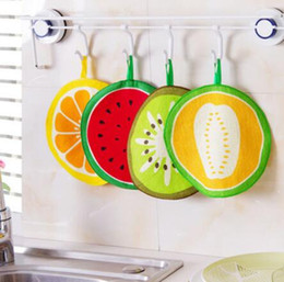 $enCountryForm.capitalKeyWord Australia - Kawaii Fruit Print Hanging Kitchen Towel Microfiber Towels Quick-Dry Cleaning Rag Dish Cloth Wiping Napkin Scouring Pad