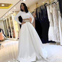 White Dress Sleeves Red Carpet Australia - White Two Piece Evening Dresses Long Sleeves Prom Dresses with Sparkly Beaded Sash A Line Celebrity Dresses For Red Carpet B43