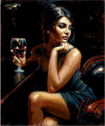 oil painting wine art Australia - Fabian Sexy Woman with Wine High Quality Handpainted & HD Print Figure Portrait Art Oil Painting On Canvas Wall Art Home Office Deco p52