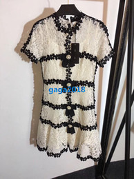 Lace high end skirt online shopping - women girls shirt dress floral lace pearls button crew neck short sleeve a line trumpet mermaid vintage mini skirts high end luxury dresses