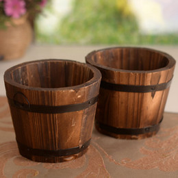 Discount small wooden pots - Small Wooden Ornamental Rustic Small Barrel Primaries Flower Pot Flower Basket Flower Bowyer For Wedding Home Decoration