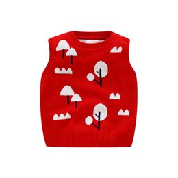 knitting baby vest UK - Stripe Cartoon Baby Sweater Vest Sleeveless O-Neck Pullover for Toddler Boys Girls Cotton Knitted Cardigan Children Clothes Warm