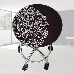 Home Office Chair Australia - Elastic Round Chair Polyester Stool Cover Bar Meeting Office Ornament Seat Slipcover Four Seasons Soft Home Floral Printed