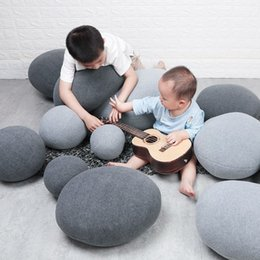 Discount huge pillows - 2019 Creative 3D Stone Floor Pillows Stuffed Huge Stone Pillows Floor Cushions Kids Living Room Decor Pouf Home Decor