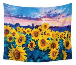 sunflowers canvas oil painting 2019 - Fresco Euro-American Style Design Oil Painting Star Sunflower Fatima Tapestry Tapestry Beach Towel Various Patterns Mura