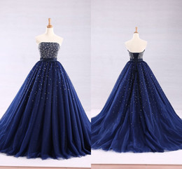 9daa2fde01e Dark Blue Ball Gown 2019 Cheap Quinceanera Prom dresses Strapless Beaded  Crystal Tulle Lace up Back Glitter Tulle Long Sweet 16 dress