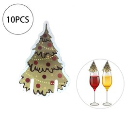 Cake Cards online shopping - 10Pcs Christmas Tree Wine Glass Cup Card Mini Christmas Cake Sign Flag Table Place Card For Xmas Festival Decor As Shown