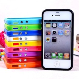 bumper case for cell phones Australia - Retail New Solid Color silicone protector Bumper For iphone 4 4S tpu frame cover cell phone bags case with 10th colors