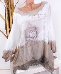 Pop2019 Длинная шея с круглым рукавом Цветы и растения Печать Свободное время Легкая рубашка на Распродаже