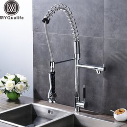 $enCountryForm.capitalKeyWord Australia - Chrome Spring Pull Down Kitchen Faucet Deck Mounted Handsfree Sprayer shower head Kitchen Mixers with Side Spout