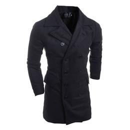 Mens Cotton Peacoat Australia - 2019 Long coat Autumn Winter Jacket Men Peacoat Mens Jackets Clothing Male Chaqueta Hombre Wool & Blends Double Breasted Y1