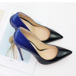 51128180e8a2 High Quality Ombre Women High Heels Designer Pumps Eight Colors Patent  Leather Lady Dress Shoes Pointed Toe 12 CM Bridal Wedding Shoes