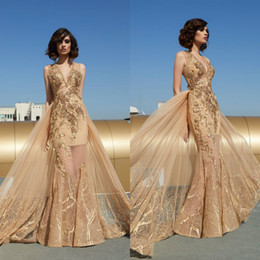 club wear sexy see through dresses 2021 - 2020 Tony Chaaya Mermaid Evening Dress With Detachable Train V Neck Appliqued Beaded Formal Party Wear Custom Made See T