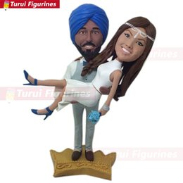 cake topper wedding figurine Australia - Indian Groom Bride Personalized Wedding Cake Topper Bobble Head Clay Figurine Based on Customers' Photos Traditional Indian Wedding Topper