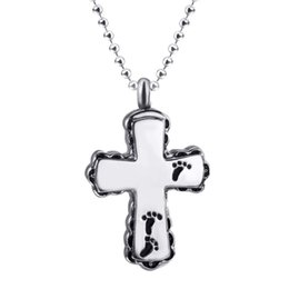 wholesale stainless steel necklace sets UK - Womens Stainless Steel Pendant Necklace Cross Pet Keepsake Memorial urn pendants for ash Chain Set Fasion Jewelry