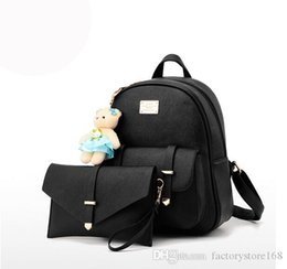 $enCountryForm.capitalKeyWord UK - 2017 Hot sale composite bag backpacks women zipper hasp school backpack cute bear doll rucksack bags 2 pieces set