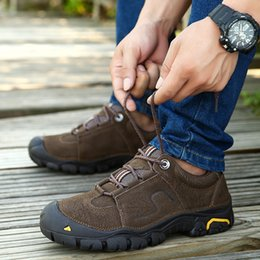 Camp Shoes For Men Australia - Men Outdoor Shoes sneakers for men genuine Leather travel walking hiking Shoes men sport camping climbing hiking shoes sneakers