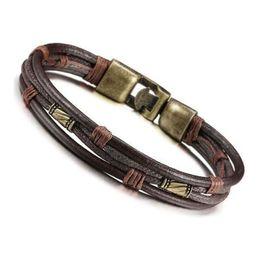 $enCountryForm.capitalKeyWord Australia - Men's Leather Bracelet Tribal Braid Cuff Hand Chain Bracelet Leather Cord Length 22cm