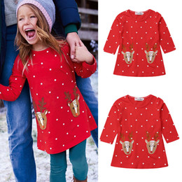 elk clothes Australia - 2 Color 2019 Christmas Girl Princess Dress Children's Wear Long Sleeve Elk Applique Print T-Shirt Dress Autumn Child Baby Clothing P028